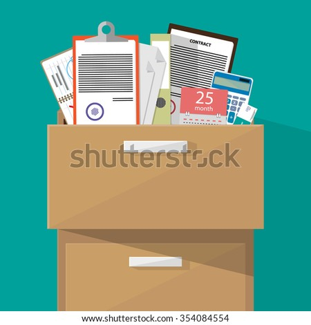 Office furniture. Case, box with folders document papers, calendar, contract, calculator. vector illustration in flat design on green background - stock vector