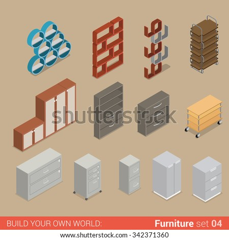 Office furniture set 04 cupboard folder book shelf storage closet cabinet chest element flat 3d isometry isometric concept web infographics vector illustration. Creative interior objects collection.