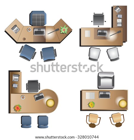 office Furniture top view  for interior , vector illustration - stock vector