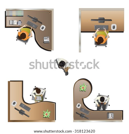 office furniture top view set 9 for interior , vector illustration - stock vector