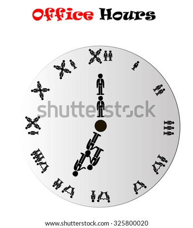 Office hours clock showing 7:00 (morning or evening), conceptual vector illustration isolated over white background - stock vector