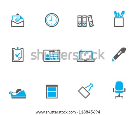 Office icon series in duo tone color style - stock vector