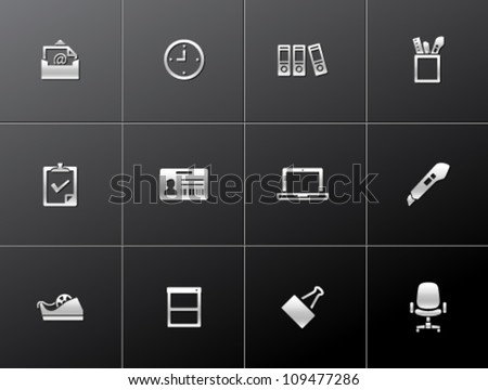 Office icon series in metallic style