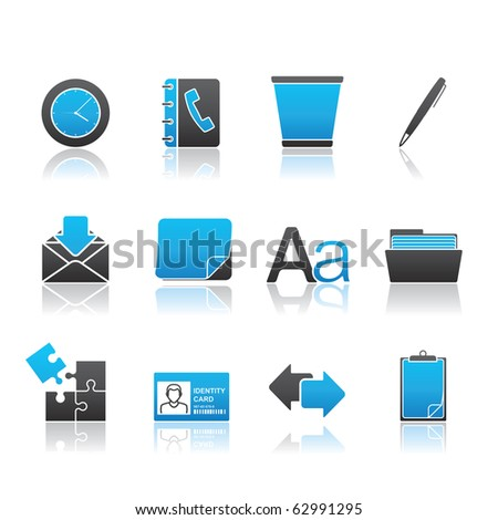 Office icon set 12 - Blue Series.  Vector EPS 8 format, easy to edit. - stock vector