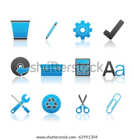 Office icon set 14 � Blue Series.  Vector EPS 8 format, easy to edit. - stock vector