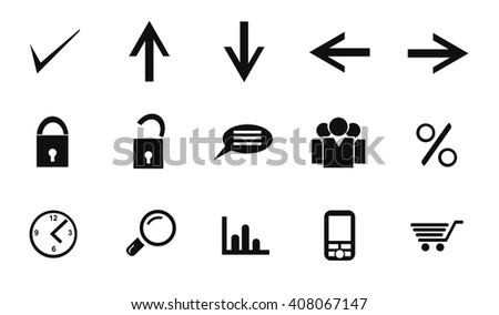 Office icon set on white background. Vector art.