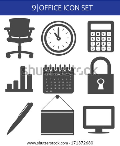 Office icon set,vector - stock vector