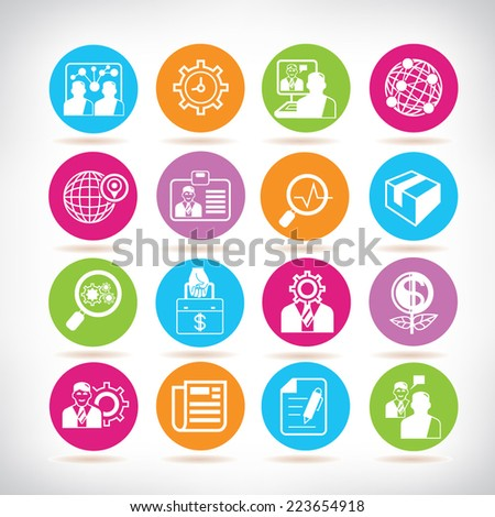 office icons, business icons, colorful circle buttons set - stock vector