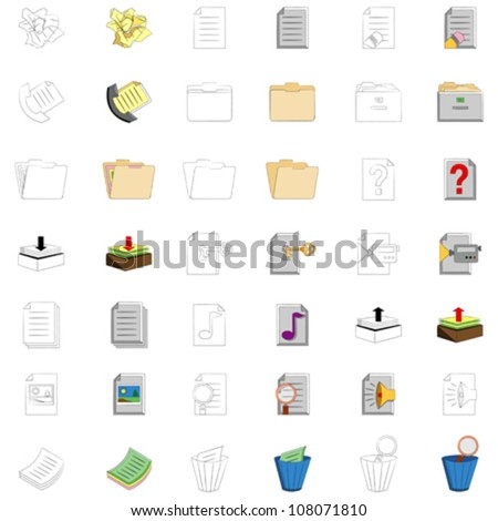 office icons collection, against white background; abstract vector art illustration