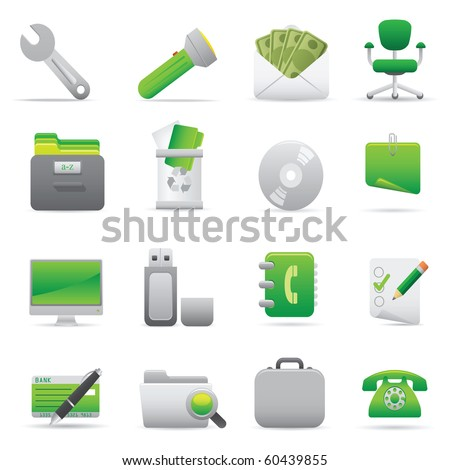 Office Icons | Green11  Professional icons for your website, application, or presentation - stock vector