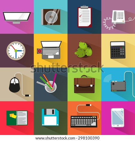 Office icons on bright background. Creative illustration set of flat design. Concept for web design. - stock vector