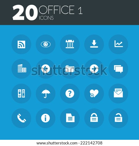 Office 1 icons on round blue buttons - stock vector