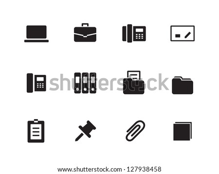 Office icons on white background. Vector illustration. - stock vector