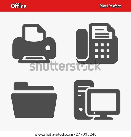 Office Icons. Professional, pixel perfect icons optimized for both large and small resolutions. EPS 8 format. Designed at 32 x 32 pixels. - stock vector