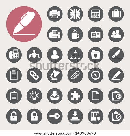 Office icons set. Illustration eps 10 - stock vector