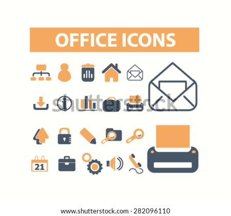 office icons set, vector - stock vector