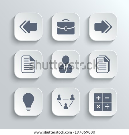Office icons set - vector white app buttons with left right arrows document copy man avatar lamp team network calculator - stock vector