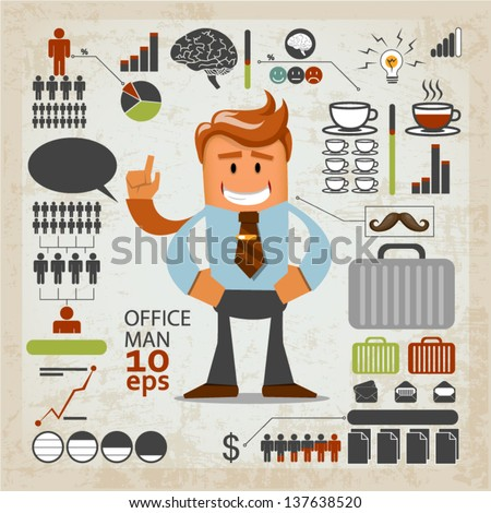 Office infographics. Vector illustration - stock vector
