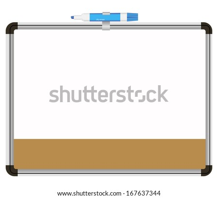 Office information board with a colored pen for notes. Vector illustration. - stock vector