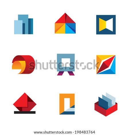 Office inspire innovation colorful business productivity tools logo icon set - stock vector