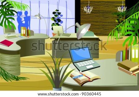 Office interior - stock vector