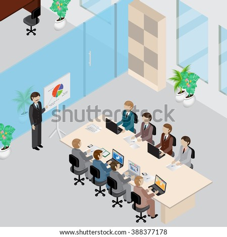 Office Interior And People 3D Isometric Concept-Vector Illustration.People Collection.Abstract Office Floor Interior Departments.Businesspeople Sitting At Office Meeting And Working On Laptop - stock vector