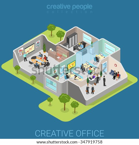 Office interior flat 3d isometry isometric business company corporate department concept web vector illustration. Creative people collection. - stock vector