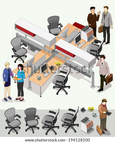office interior isometric vector. set of workstation area with separated furniture elements. - stock vector