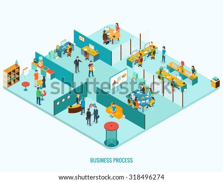 Office Interior. Reception, meeting, open space, job interview concept. Isometric 3d vector illustrations - stock vector