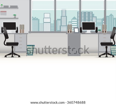 Office interior vector business background, tables chairs, computer desk, desktop, window, city, employee, empty, on the tables with computers - stock vector