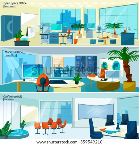 Office interiors horizontal banners set with conference hall and open space office with modern furniture vector illustration   - stock vector