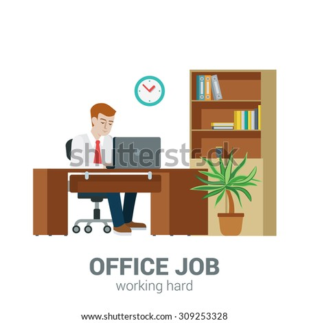 Office job process concept. Businessman sitting table laptop cupboard locker document shelf. Flat style modern professional work related icon man workplace. People at work collection. - stock vector