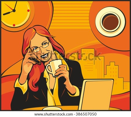 Office lady drinking coffee and talking on the phone.  Vector flat illustration. For web, banner, poster, info graphic.