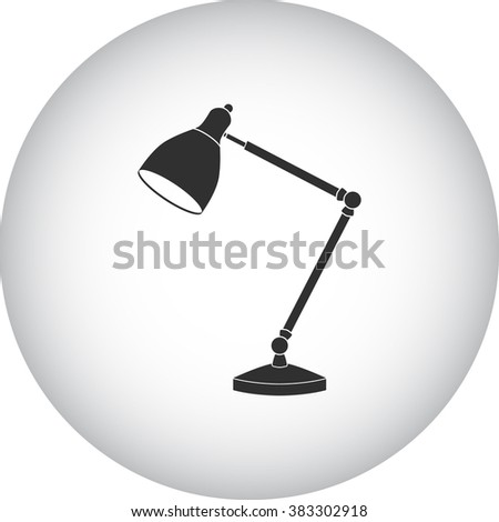 Office lamp simple icon  on round background