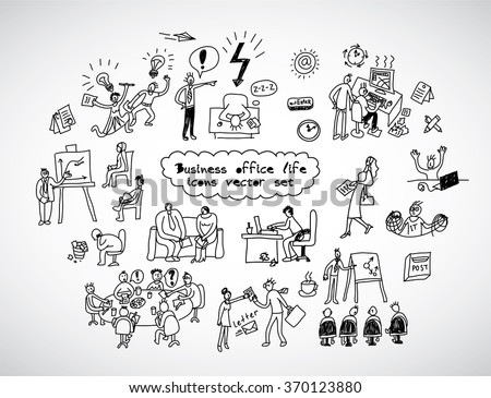 Office life black lines icons set business people. Black and white vector illustration. EPS8