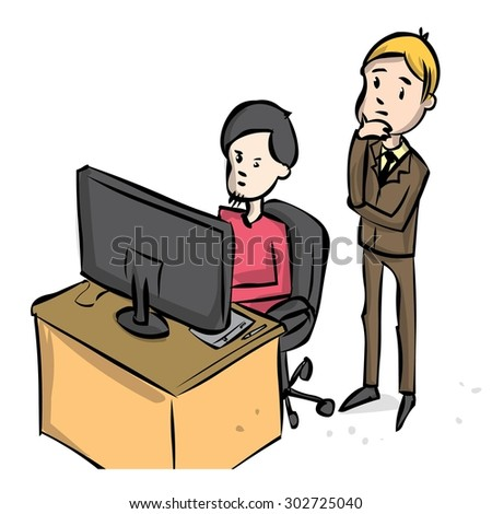 Office life. Boss oversees the work of his subordinate. Hand drawn vector cartoon illustration.