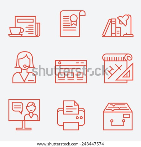 Office life icons, thin line style, flat design - stock vector