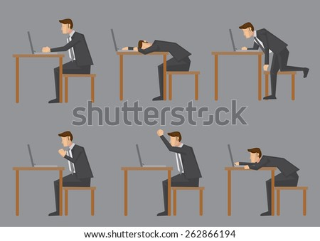 Office life of nine-to-five white collar worker or business executive. Set of six side view of vector characters sitting at his desk and doing work on laptop computer isolated on grey background - stock vector