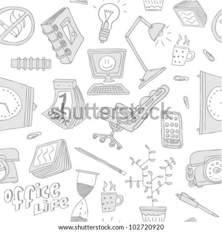 office life pattern - stock vector