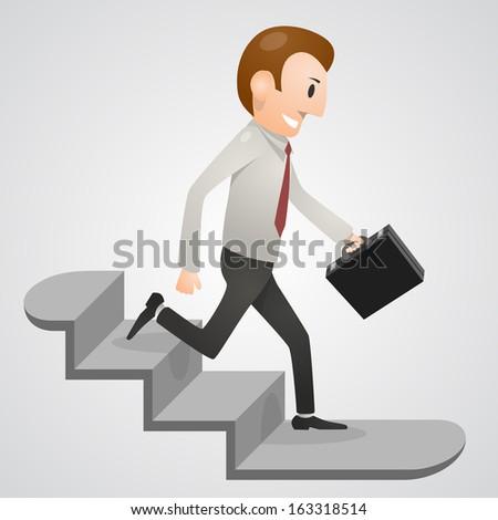 Office man running downstairs. Vector illustration - stock vector