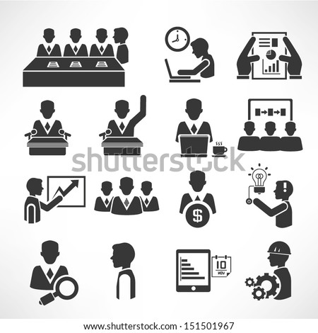 office management icons set, business management icons set, vector