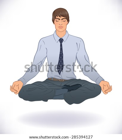 Office meditation concept. Young handsome businessman man practicing yoga. Vector illustration.