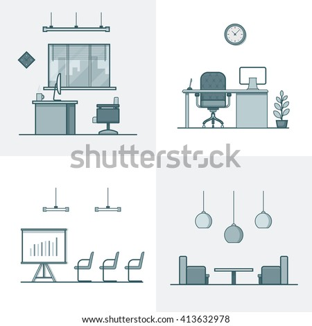 Office Meeting Conference Room Table Chair Stock Vector - Conference room table and chairs clip art
