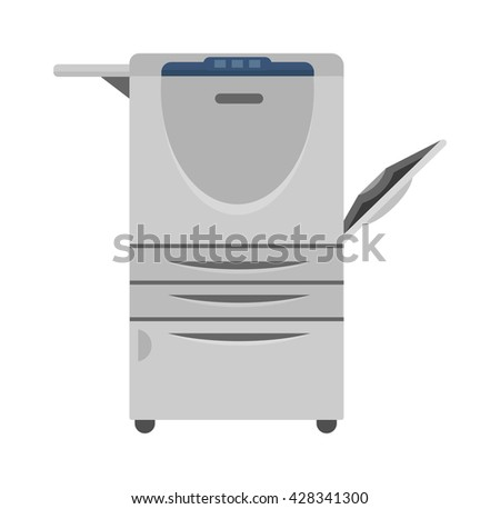 Office multifunction printer copy machine and copy machine paper office printer. Business copy machine and vector technology equipment photocopy copy machine. Digital scan modern secretary. - stock vector