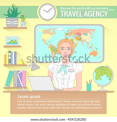 Office of travel agency. Vector illustration with isolated objects - stock vector