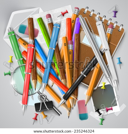 Office or school stuffs and items on white background, vector - stock vector
