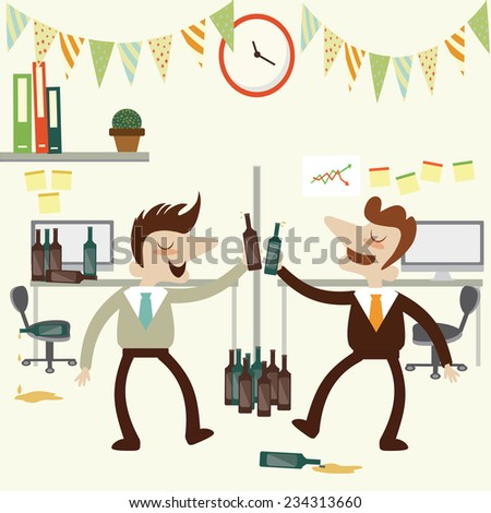 Office party with business man over drunk .Vector cartoon design. - stock vector