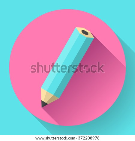 office pencil icon. Business Flat design style. - stock vector