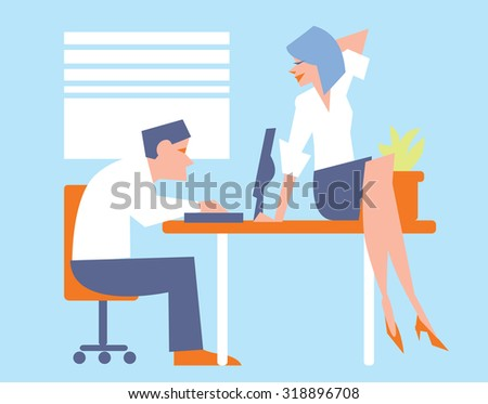 Office people and office life business concept vector illustration.