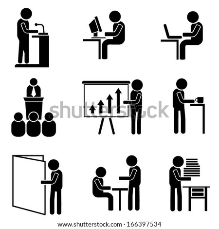 office people, business management icons - stock vector
